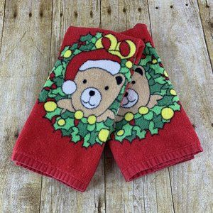 Holiday Kitchen Towel Set Santa Bear Christmas